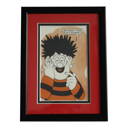 dennis the menace framed postcard by: springfield hobbies